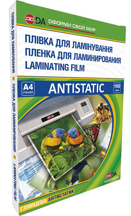 Пленка для ламинирования, глянцевая DA ANTISTATIC А4, 100мкм, прозрачная, 100шт.