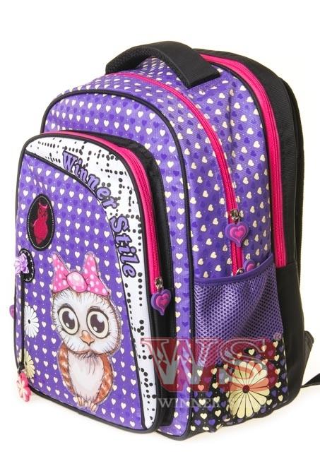 Рюкзак для школы Winner Style 194-1, фиолетовый с розовым