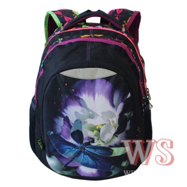 Рюкзак для школы Winner Style 241, чёрный с стрекозой