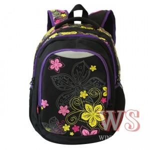 Рюкзак для школы Winner Style 241, чёрный с цветами