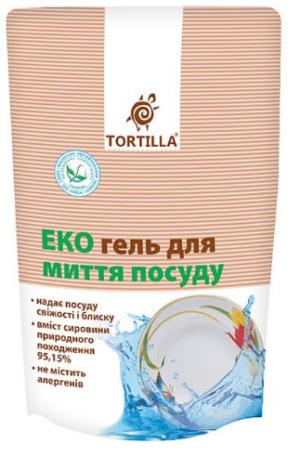 Гель для мытья посуды TORTILLA Эко 500мл, запасной