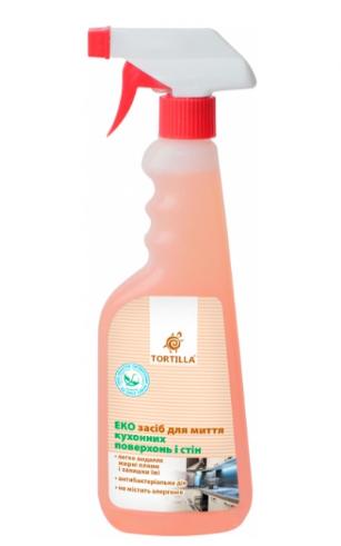 Средство для мытья кухонных поверхностей и стен с антибактериальным действием, TORTILLA Эко 450мл с распылителем