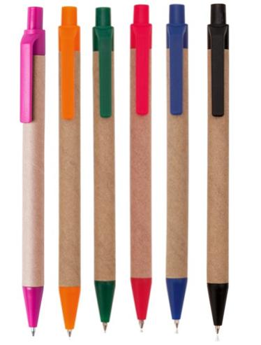Ручка шариковая, автоматическая, бумажная Эко (6 цветов)
