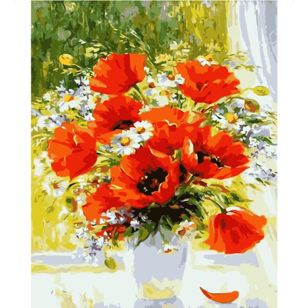 Картина для росписи по номерам «Букет полевых цветов на подоконнике», 40х50см