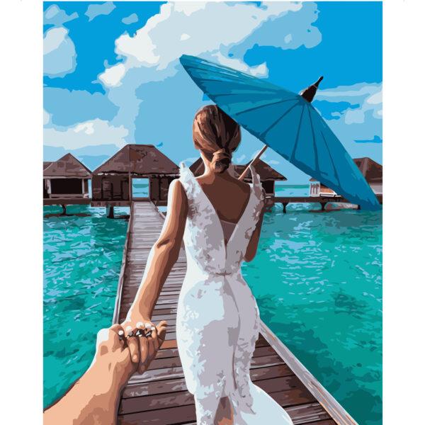Картина для росписи по номерам «Невеста на Мальдивах», 40х50см