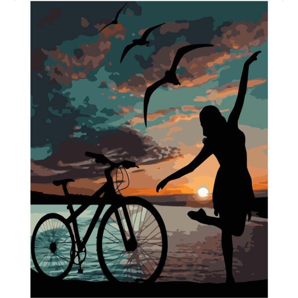 Картина для росписи по номерам «Ночная велопрогулка», 40х50см