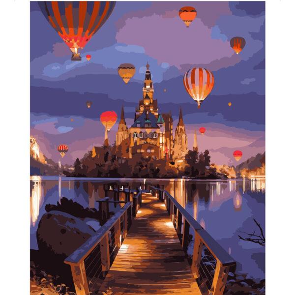 Картина для росписи по номерам «Сказочный вечерний замок», 40х50см