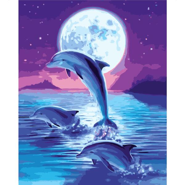 Картина для росписи по номерам «Дельфины в лунном сиянии», 40х50см