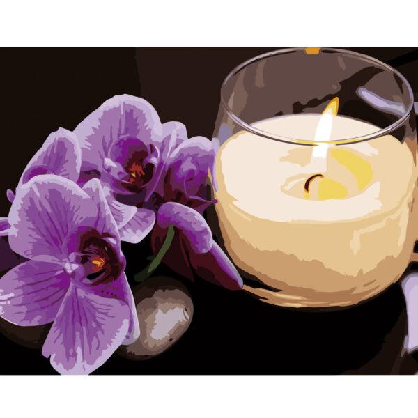 Картина для росписи по номерам «Орхидея со свечкой», 40х50см
