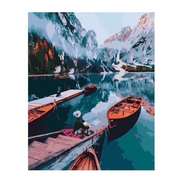 Картина для росписи по номерам «Озеро среди гор», 40х50см