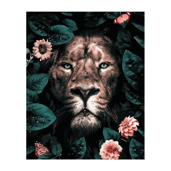 Картина для росписи по номерам «Лев среди цветов», 40х50см