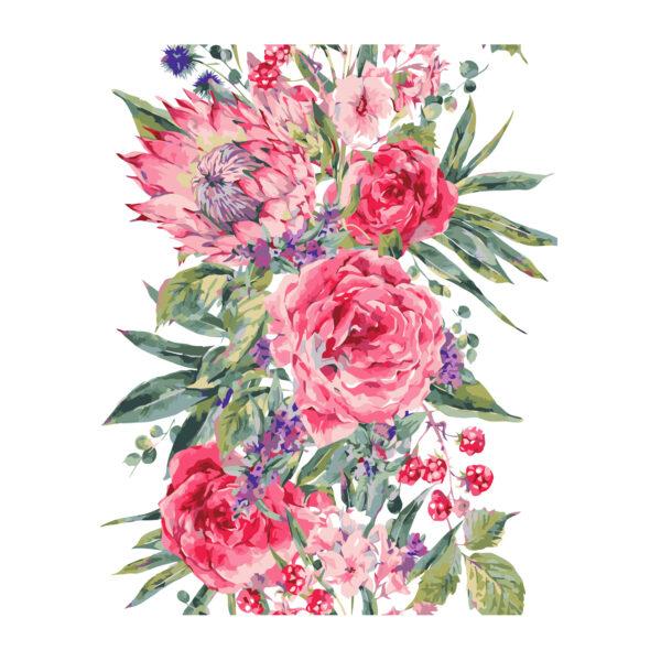 Картина для росписи по номерам «Розовые цветы», 40х50см