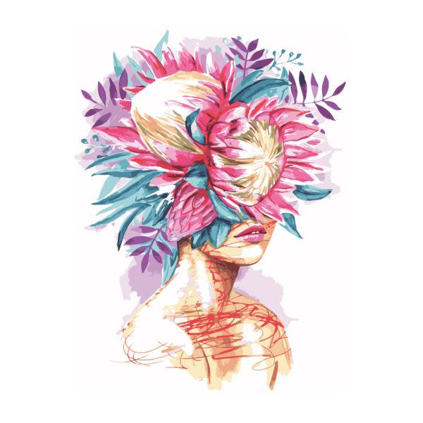Картина для росписи по номерам «Девушка с букетом», 40х50см