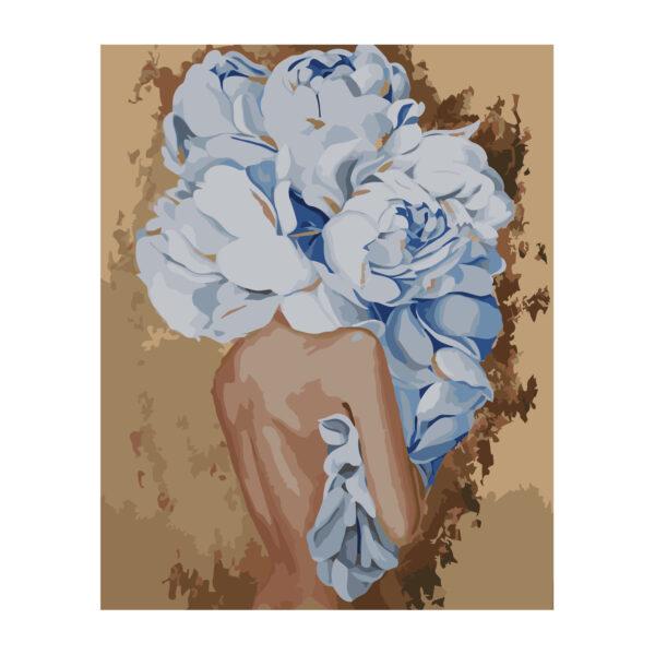 Картина для росписи по номерам «Девушка с голубыми пионами», 40х50см