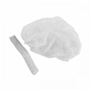 Шапочки-береты одноразовые, 50шт, белые (две резинки)