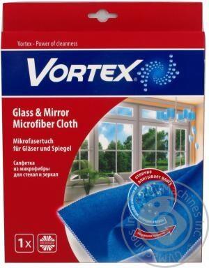 Салфетка микрофибра для стекла и зеркал Vortex-18300920, голубая