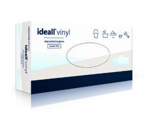 Перчатки медицинские IDEALL VINYL виниловые, XL 100шт, без пудры, прозрачные, в боксе