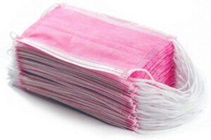 Маски медицинские нетканые, розовые, 50шт.