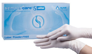 Перчатки медицинские IGAR Sempercare латексные S 100шт, без пудры, в голубом боксе