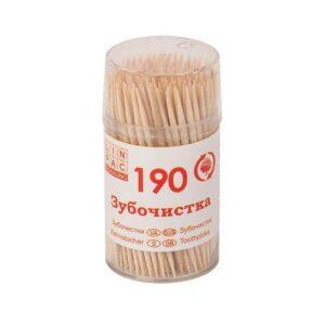 Зубочистки деревянные ЛИНПАК 190шт в стаканчике