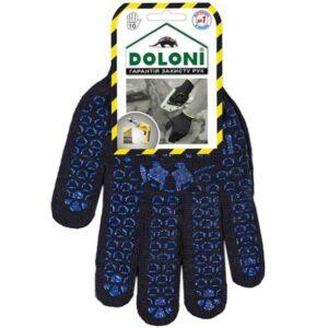 Перчатки DOLONI черные с ПВХ рисунком