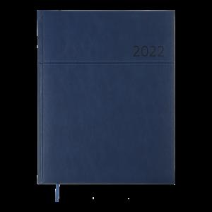Еженедельник датированный 2022 ORION, А4, твердая обложка, кожзам, синий