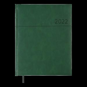Ежедневник датированный 2022 ORION, А4, твердая обложка, кожзам, зеленый