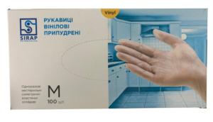 Перчатки медицинские Sirap виниловые M 100шт, с пудрой, в боксе