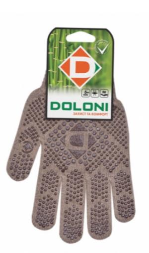 Перчатки DOLONI коричневые с ПВХ рисунком