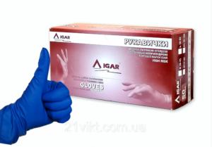 Перчатки медицинские латексные IGAR HIGH RISK, M-8р, без пудры, 50шт, синие в боксе