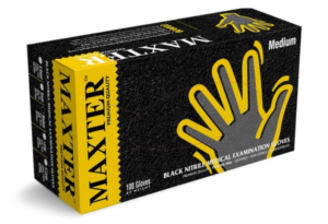 Перчатки медицинские MAXTER нитриловые, M 100шт, без пудры, черные, в боксе