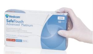 Перчатки медицинские нитриловые Medicom Platinum 1174 В, S-7р, без пудры, 100шт, белые в боксе