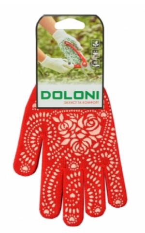 Перчатки DOLONI красные с ПВХ рисунком