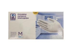 Перчатки медицинские Sirap латексные M 100шт, с пудрой, в боксе