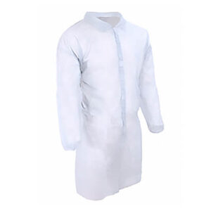 Халат медицинский нетканый, белый, размер XL на липучках 5шт.