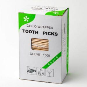 Зубочистки бамбуковые К-Tooth Picks 1000шт, с ментолом в индивидуальной полиетиленовой упаковке