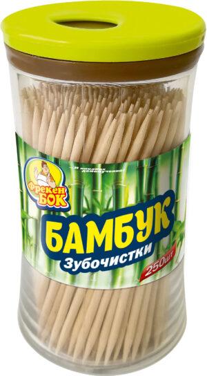 Зубочистки бамбуковые Фрекен Бок 250шт в стаканчике
