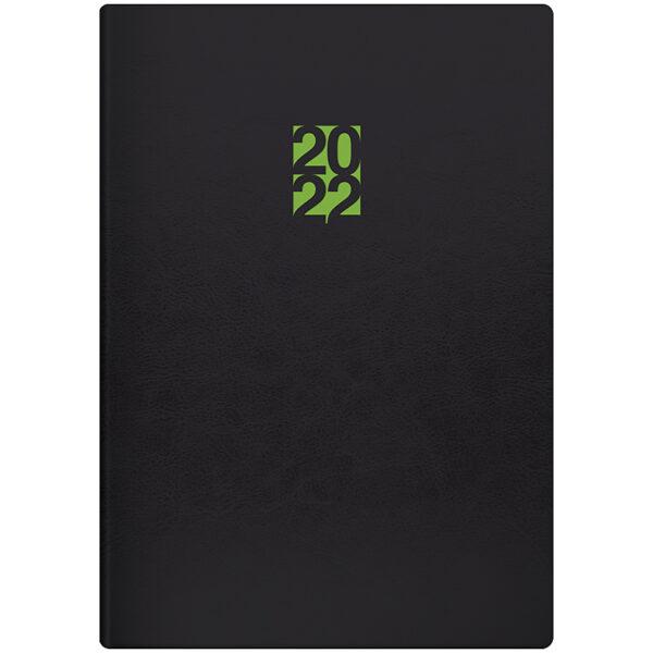 Ежедневник датированный BRUNNEN 2022 СТАНДАРТ FLEX NEO, черный с салатовым, гибкий