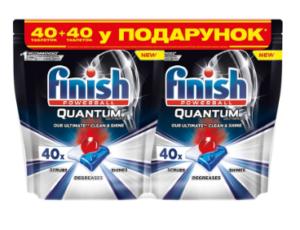 Таблетки FINISH Guantum для посудомоечных машин 40шт+40шт в подарок