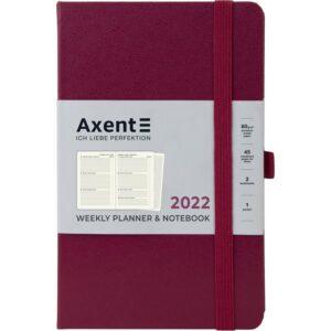 Еженедельник датированный А5, 2022 Axent Partner Strong, твердая обложка, кремовый блок, винный