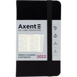 Еженедельник датированный А6-, 2022 Axent Pocket Strong, твердая обложка, кремовый блок, черный