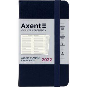 Еженедельник датированный А6-, 2022 Axent Pocket Strong, твердая обложка, кремовый блок, синий