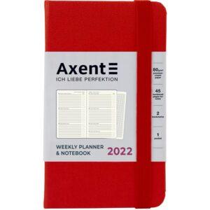 Еженедельник датированный А6-, 2022 Axent Pocket Strong, твердая обложка, кремовый блок, красный