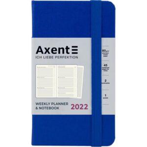 Еженедельник датированный А6-, 2022 Axent Pocket Strong, твердая обложка, кремовый блок, классический синий