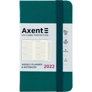 Еженедельник датированный А6-, 2022 Axent Pocket Strong, твердая обложка, кремовый блок, малахитовый
