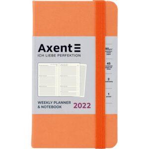 Еженедельник датированный А6-, 2022 Axent Pocket Strong, твердая обложка, кремовый блок, персиковый
