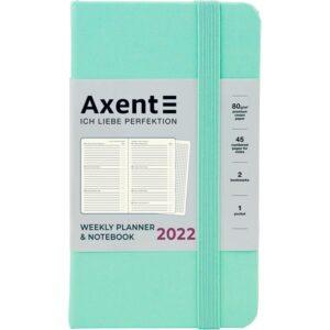Еженедельник датированный А6-, 2022 Axent Pocket Strong, твердая обложка, кремовый блок, мятный