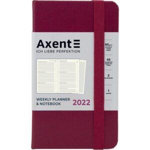 Еженедельник датированный А6-, 2022 Axent Pocket Strong, твердая обложка, кремовый блок, винный