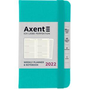 Еженедельник датированный А6-, 2022 Axent Pocket Strong, твердая обложка, кремовый блок, бирюзовый