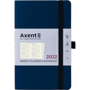 Еженедельник датированный А5, 2022 Axent Partner Soft, мягкая обложка, кремовый блок, темно-синий